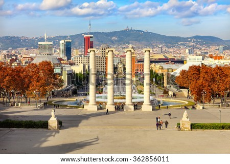 Montjuic fountain on Plaza de Espanya in Barcelona, Spain - stock photo