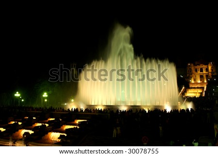 Montjuic (magic) fountain in Barcelona at night