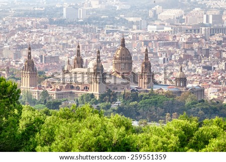 Montjuic National Palace in Barcelona, Spain. - stock photo