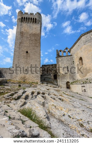 Montmajour Abbey near Arles, South of France, Provence - stock photo