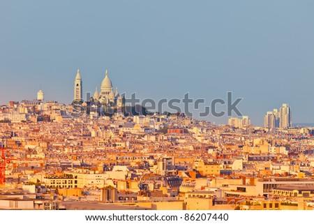 Montmartre and Sacre-Coeur church, Paris - stock photo