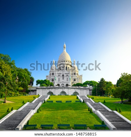 Montmartre at sunrise - Basilica Sacre Coeur - stock photo
