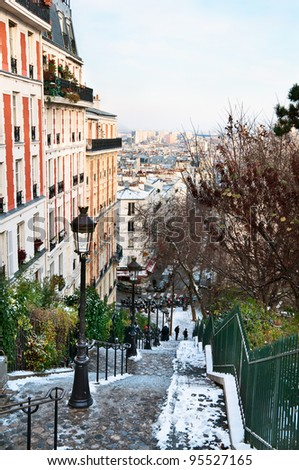 Montmartre in winter - stock photo