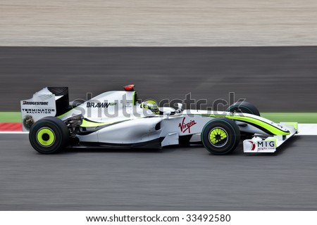 MONTMELO, SPAIN - MAY 10: BrawnGP participates in the Spanish Grand Prix on May 10, 2009 in Montmelo, Spain.  Rubens Barichello of Brazil finished 2nd and Jenson Button in - stock photo