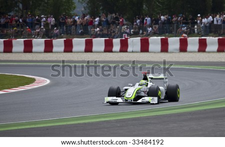 MONTMELO, SPAIN - MAY 10: Formula 1 team BrawnGP participates in the Spanish Grand Prix at the Circuit de Catalunya on May 10, 2009  in Montmelo, Spain.  Rubens Barichello of Brazil finished 2nd and Jenson Button in 1st. - stock photo