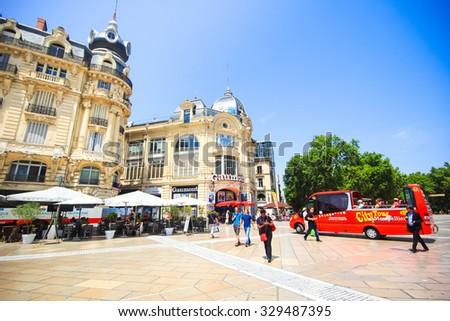 MONTPELLIER, FRANCE - JULY 2: Architecture of Place de la Comedie the main tourist spot of Montpellier, France on July 2, 2015 in Montpellier. - stock photo