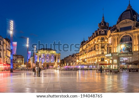 MONTPELLIER,FRANCE-MAY 14:The Place de Comedie on 14th May 2014 in Montpellier France. The Place de Comdedie is the largest open square in Europe - stock photo
