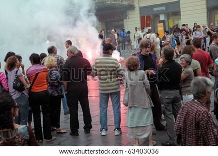 MONTPELLIER, FRANCE - SEPT 23: Public demonstrators invade Place de la Comedie. Unrest in all major cities of France. Montpellier, September 23, 2010. - stock photo