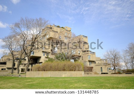 MONTREAL-Apr. 03: A view of Habitat 67 on april 03, 2012 in Montreal, Quebec, CA. Habitat 67 is considered a landmark and one of the most recognizable and significant buildings in Montreal and Canada - stock photo