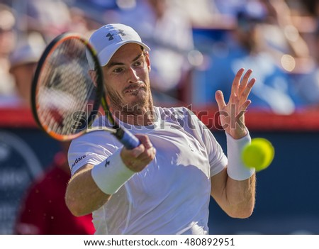 MONTREAL - AUGUST 16:  Andy Murray of Great Britain during his final match win over Novak Djokovic of Serbia at the 2015 Rogers Cup on August 16, 2015 in Montreal, Canada