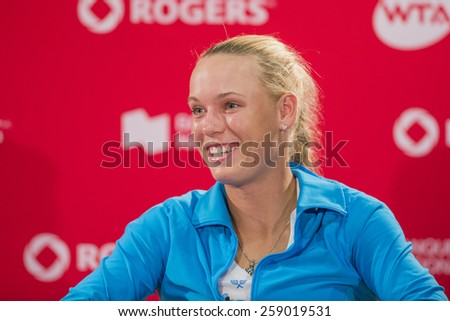 MONTREAL - AUGUST 8: Caroline Wozniacki of Denmark during press conference after her quarter final match loss to Serena Williams of USA at the 2014 Rogers Cup on August 8, 2014 in Montreal, Canada - stock photo
