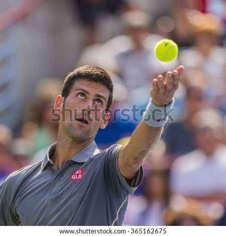 MONTREAL - AUGUST 16: Novak Djokovic of Serbia during his final match loss to Andy Murray of Great Britain at the 2015 Rogers Cup on August 16, 2015 in Montreal, Canada - stock photo