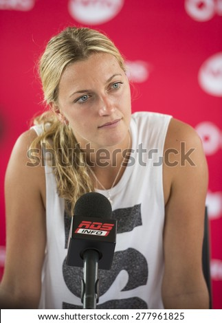 MONTREAL - AUGUST 3: Petra Kvitova of Czech Republic during press conference at the 2014 Rogers Cup on August 3, 2014 in Montreal, Canada - stock photo