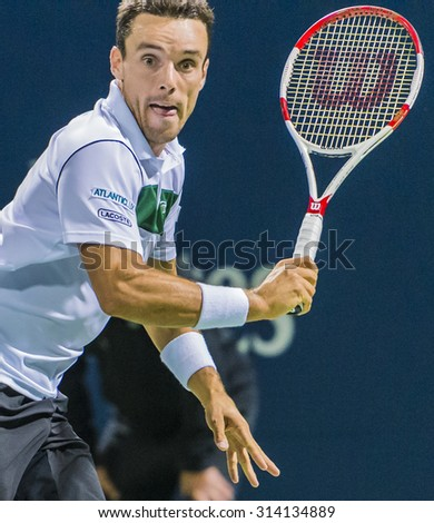 MONTREAL - AUGUST 12: Roberto Bautista Agut of Spain during his second round match loss to Jo-Wilfried Tsonga of France at the 2015 Rogers Cup on August 12, 2015 in Montreal, Canada