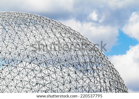 Montreal Biosphere Structure details and Clouds - stock photo