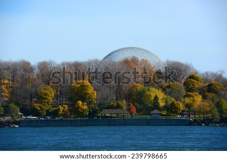 Montreal Biosphere was built for Expo 67 to display Canadian St. Lawrence Seaway river system on Saint Helens Island in Montreal, Quebec, Canada - stock photo