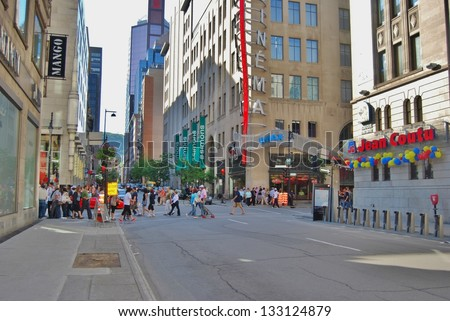 MONTREAL, CA- JUNE 09: Downtown Montreal Architecture, and Lifestyle on June 09 , 2010 in Montreal,CA Montreal has prominent buildings in a variety of styles by many famous architects