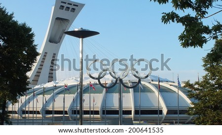 MONTREAL,CA- JUNE 09: Montreal Olympic Stadium on July 31, 2013. Located in the Hochelaga-Maisonneuve district of Montreal, Quebec.  This stadium was the main venue of the 1976 Summer Olympics