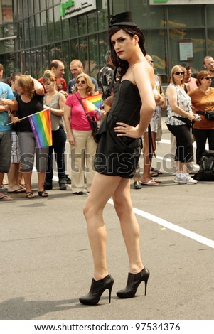 MONTREAL, CANADA - AUGUST 14: participant of parade at the Montreal Annual Gay Pride parade August 14, 2011, Montreal. - stock photo