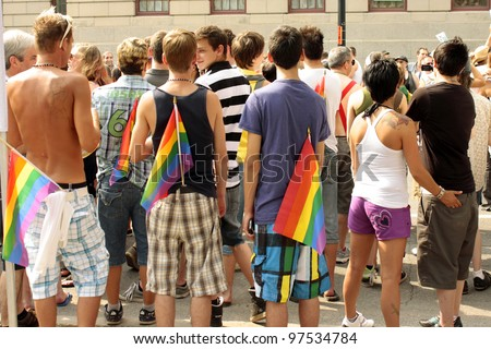 MONTREAL, CANADA - AUGUST 14: participants of parade at the Montreal Annual Gay Pride parade August 14, 2011, Montreal. - stock photo