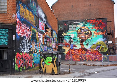 MONTREAL CANADA DEC 27: Street art Montreal junky on dec 27 2014 in Montreal Canada. Montreal. is the perfect place to walk in the back alleys and abandoned areas, looking for street art.