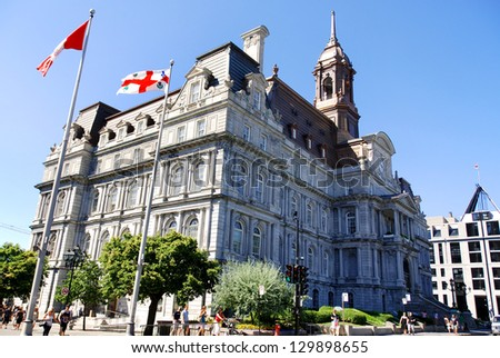 MONTREAL CANADA-JULY 20: Montreal's city hall is one of the best examples of the Second Empire style in Canada on july 20 2011 in Montreal canada - stock photo