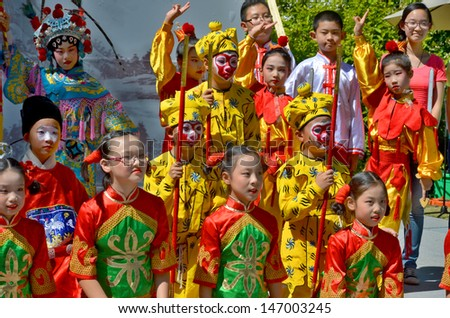MONTREAL CANADA JULY 21: Unidentified children participating a the Chinese Culture Week  the largest event of its kind ever organized in the Montreal region on july 21 2013 in Montreal Canada - stock photo