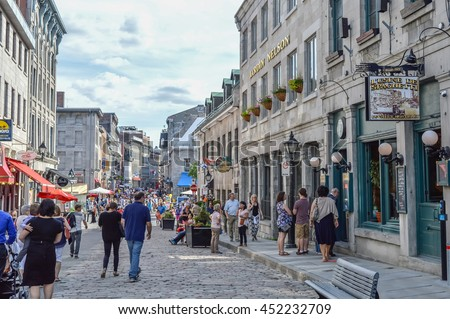 Montreal, Canada - June 6, 2016: Popular St Paul street in the Old Port. People can be seen around. - stock photo