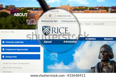 MONTREAL, CANADA - JUNE 4, 2016 : Rice University page under magnifying glass. Rice University or Rice, is a private research university located in Houston, Texas, United States. - stock photo
