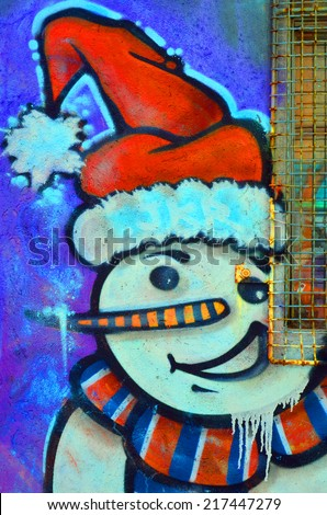 MONTREAL CANADA JUNE 23: Street art Montreal snowman on june 23 2014 in Montreal Canada. Montreal is the perfect place to walk in the back alleys and abandoned areas, looking for street art.