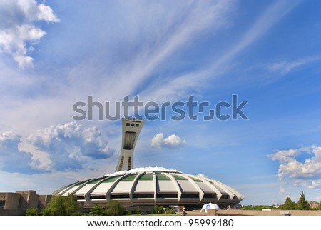 MONTREAL,CANADA -JUNE 24.The Montreal Olympic Stadium on June 24 , 2008. It's the tallest inclined tower in the world.Olympic tower stands 175 meters tall and at a 45-degree angle.