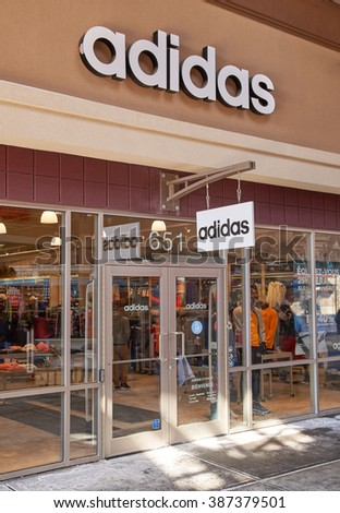 MONTREAL, CANADA - MARCH 6, 2016 - Adidas outlet in  Premium Outlets Montreal. The Premium Outlets is the second Premium Outlet Center in Canada located in Mirabel, Quebec.