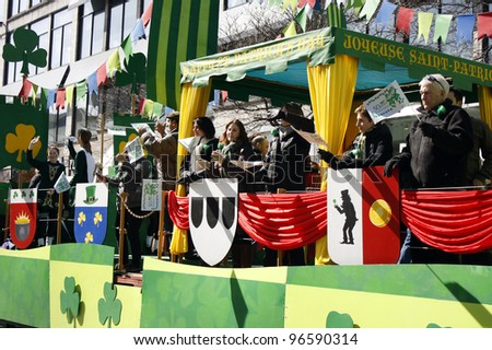 MONTREAL, CANADA - MARCH 20: participants of parade at the St. Patrick's Day Parade on March 20, 2011 in Montreal, Canada. It's a traditional Irish holiday parade.