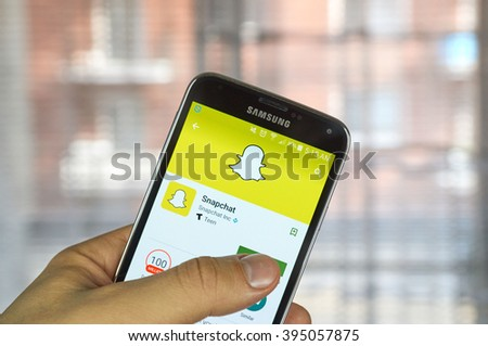 MONTREAL, CANADA - MARCH 20, 2016 - Snapchat application on android cell smartphone. Snapchat is a mobile messaging application used to share photos, videos, text, and drawings. - stock photo