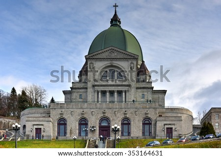 Montreal, Canada - November 29, 2015: Saint Joseph's Oratory of Mount Royal, a Roman Catholic minor basilica and national shrine on Westmount Summit in Montreal, Quebec. It is Canada's largest church.