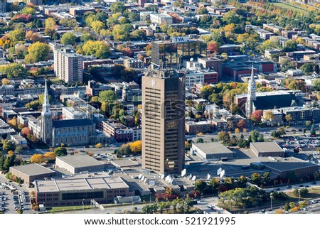 Montreal, Canada. October 14, 2016. Aerial view of the Canadian Broadcast Corporation (CBC). The 40 years old landmark tower is for sell, the public broadcaster will built a smaller complex nearby.