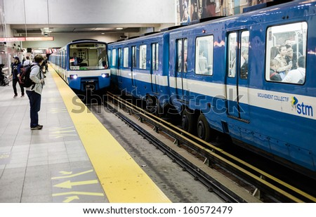 Montreal, Canada, October 15, 2013: Montreal Metro during the evening a Berri station - stock photo
