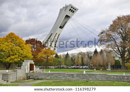 MONTREAL,CANADA - OCTOBER 21. The Montreal Olympic Stadium tower on October 21, 2012. It's the tallest inclined tower in the world.Tour Olympique stands 175 meters tall and at a 45-degree angle - stock photo