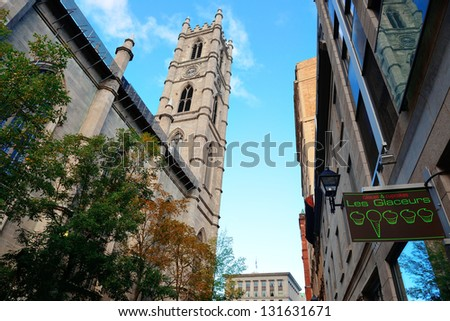 MONTREAL, CANADA - SEP 8: City street view on September 8, 2012 in Montreal, Canada. It is the largest city in Quebec, the second-largest in Canada and the 15th-largest in North America. - stock photo