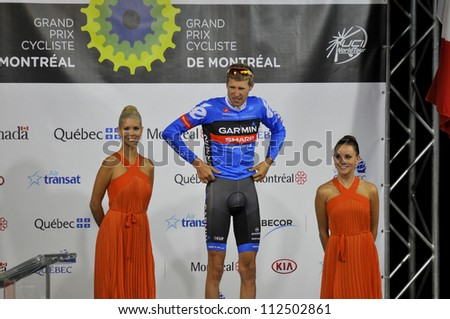 MONTREAL, CANADA-SEPT. 9: Ryder Hesjedal 23th best Canadian in 2012 UCI cycling calendar | 2012 Grand Prix Cycliste de Montreal on September 9, 2012 in Montreal, Mount royal climb - stock photo
