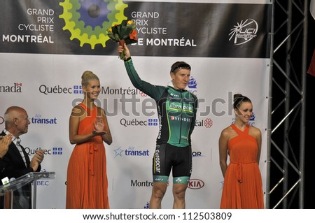 MONTREAL, CANADA-SEPTEMBER 11: Ciyril Gautier best climber in 2011 UCI cycling calendar | 2011 Grand Prix Cycliste de Montreal on September 11, 2011 in Montreal, Mount royal climb - stock photo