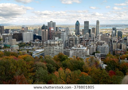 MONTREAL, CANADA - SEPTEMBER, 2016 - Scenic view of downtime Montreal in the Fall.