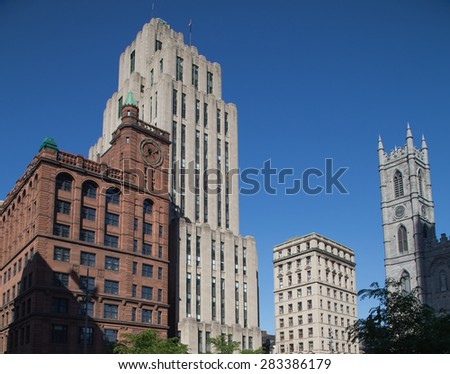 MONTREAL, CANADA - 17TH MAY 2015: A building along Rue Notre-Dame in Montreal during the day