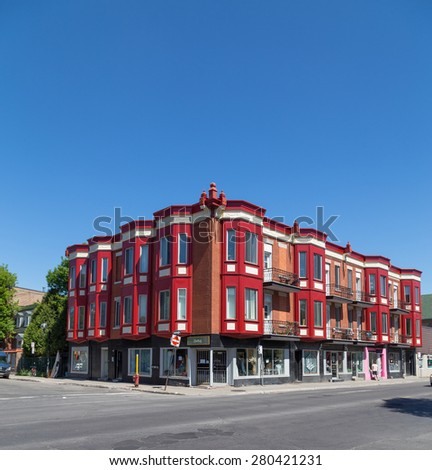 MONTREAL, CANADA  - 17TH MAY 2015: Colorful buildings along Avenue des Pins in Montreal during the day - stock photo
