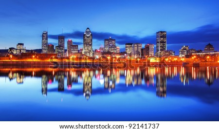 Montreal City at Night - stock photo