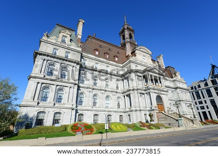 Montreal City Hall wide angle, Montreal city hall is a French Empire style building in old town Montreal, Quebec, Canada - stock photo