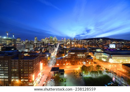 Montreal city skyline at sunset, Montreal, Quebec, Canada - stock photo