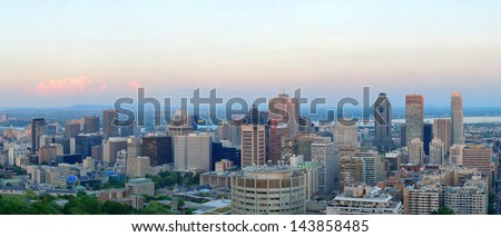 Montreal city skyline panorama at sunset viewed from Mont Royal with urban skyscrapers. - stock photo