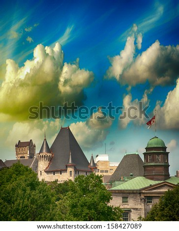 Montreal day view panorama with city skyline. Ancient buildings at sunset. - stock photo