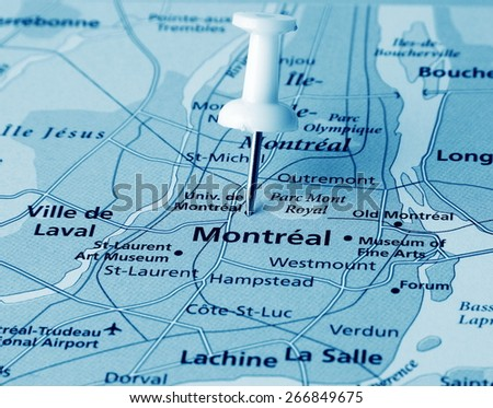 Montreal  destination in the map - stock photo